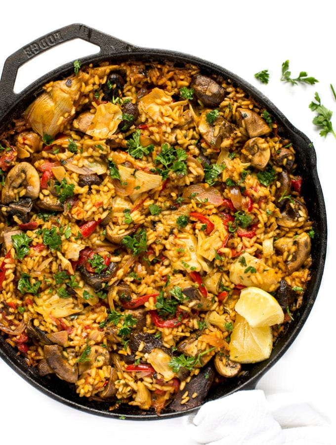 Mushroom Paella + Tips for Making Paella