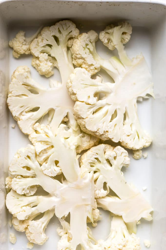 Roasted Lemon Caper Cauliflower Steaks with Creamy Horseradish Sauce