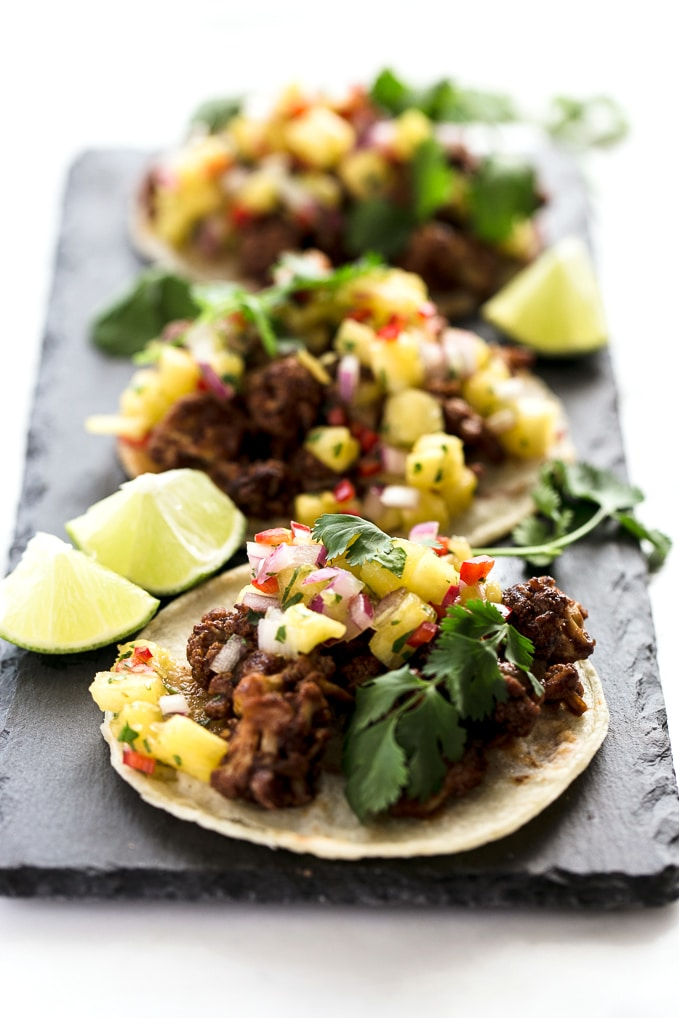 BBQ Cauliflower Tacos with Pineapple Salsa | Vegan, Gluten-Free