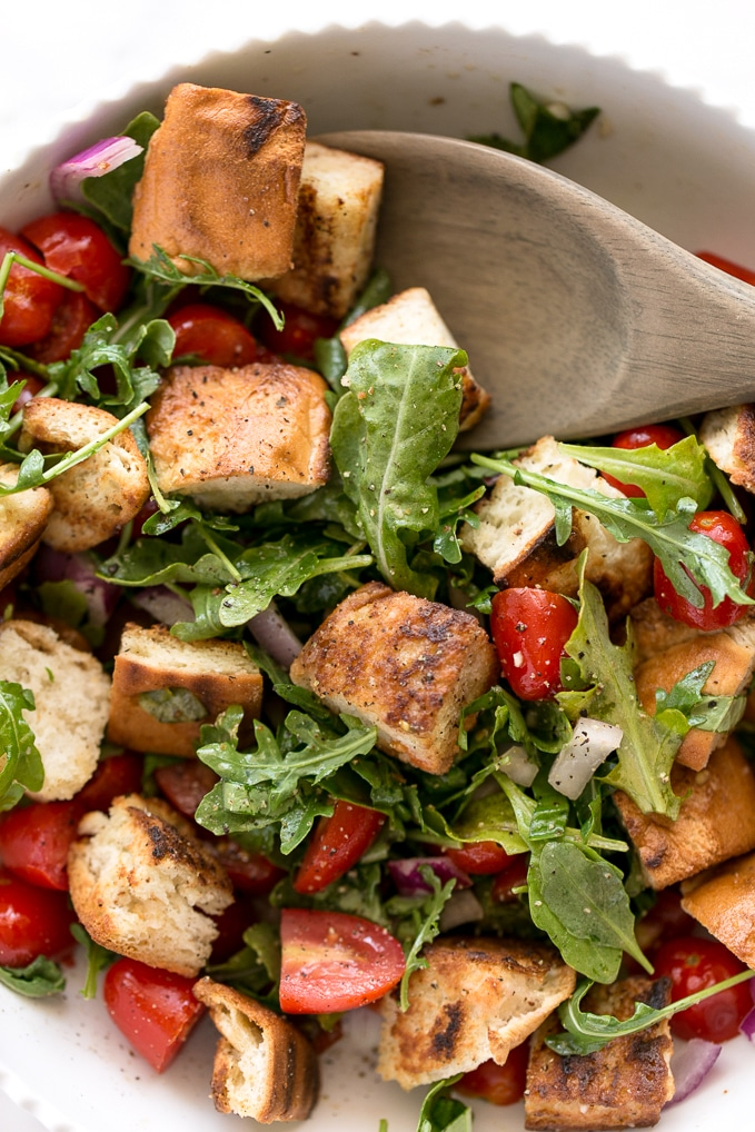 Cherry Tomato Panzanella with Hemp Seed Blue Cheese | Vegan