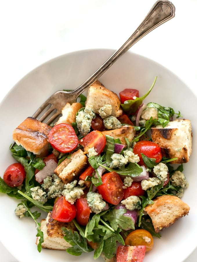 Cherry Tomato Panzanella Salad with Hemp Seed Blue Cheese | Vegan