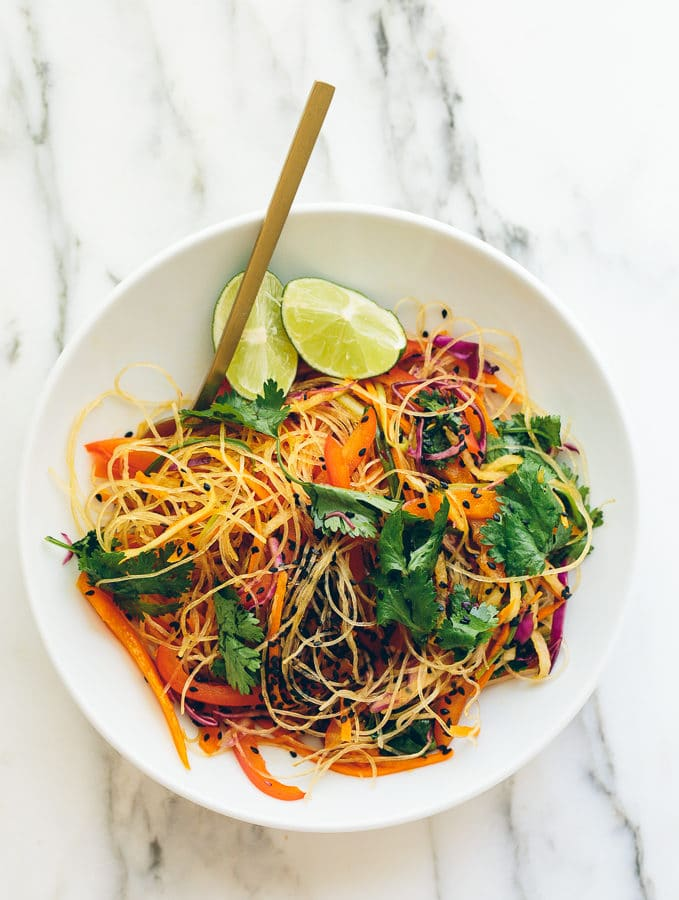 Rainbow Glass Noodle Crunch Salad with Chile-Lime Vinaigrette
