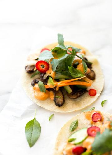 Shiitake Bahn Mi Tacos with Smoky Sriracha Cashew Aioli| Vegan