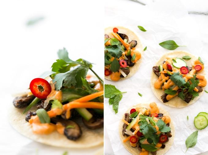 Shiitake Bánh Mì Tacos with Smoky Sriracha Cashew Aioli| Vegan