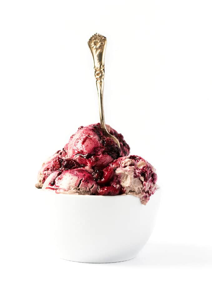Strawberry Ice Cream with Berry Swirl | Vegan, No-Churn