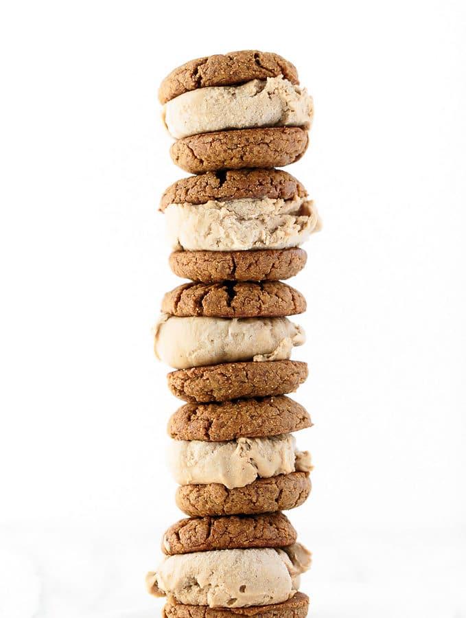 Double Peanut Butter Ice Cream Sandwiches (Vegan, GF)