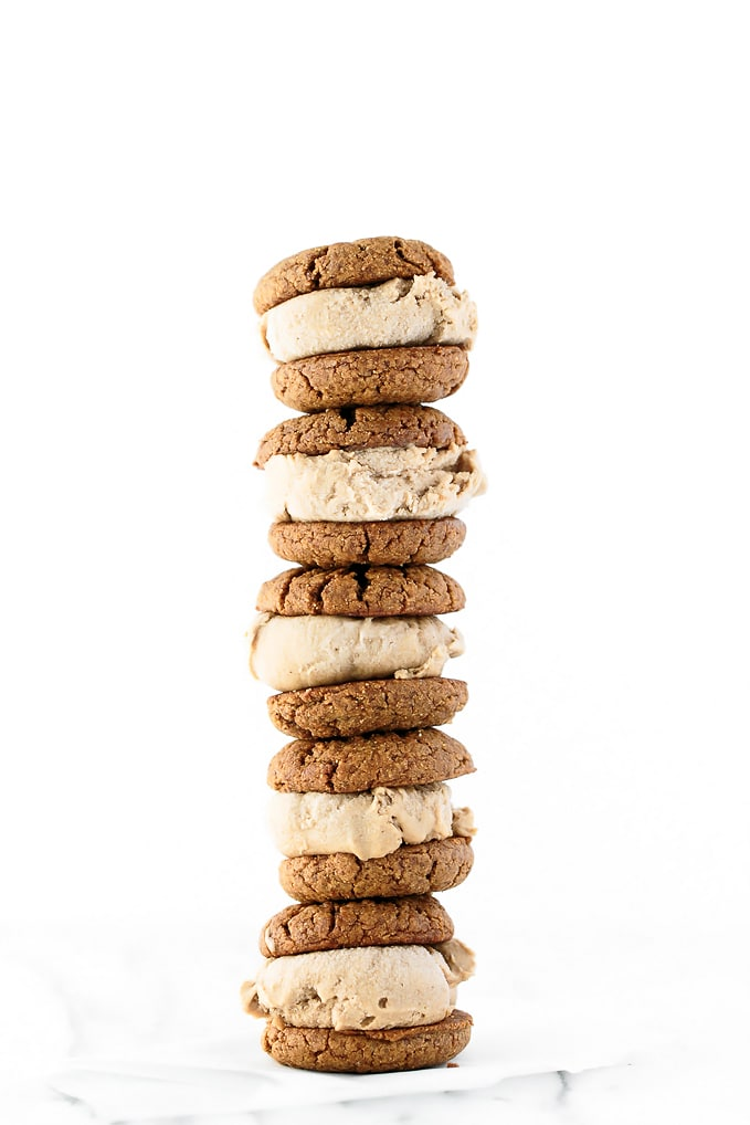 Double Peanut Butter Ice Cream Sandwiches (Vegan, GF)