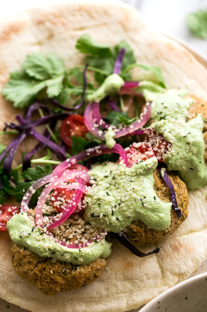 Herbed Cauliflower Patty Sandwiches with Green Tzatziki | Vegan + Gluten- and Grain-Free Options