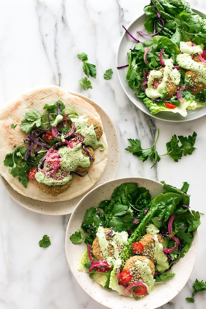 Herbed Cauliflower Patty Sandwiches with Green Tzatziki   Vegan + Gluten- and Grain-Free Options