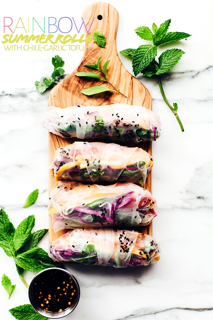 Rainbow Summer Rolls with Chile-Garlic Tofu | These plant-powered summer rolls are packed with spicy chile-garlic tofu and a vibrant rainbow of veggies!