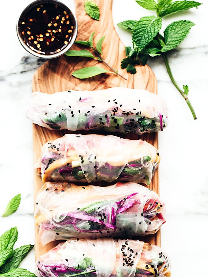 Rainbow Summer Rolls with Chile-Garlic Tofu