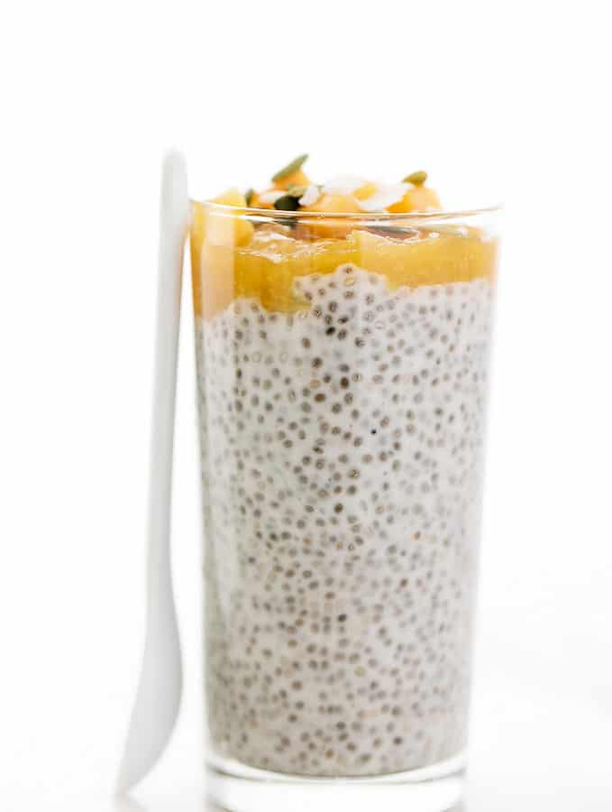 Peaches n Cream Chia Seed Pudding Parfaits | Vegan