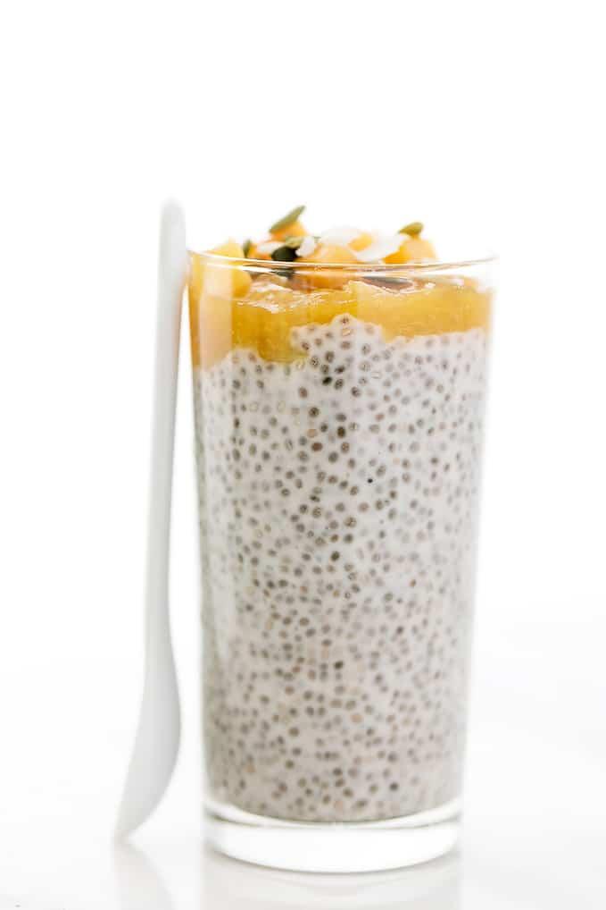Peaches n Cream Chia Seed Pudding Parfaits | Vegan