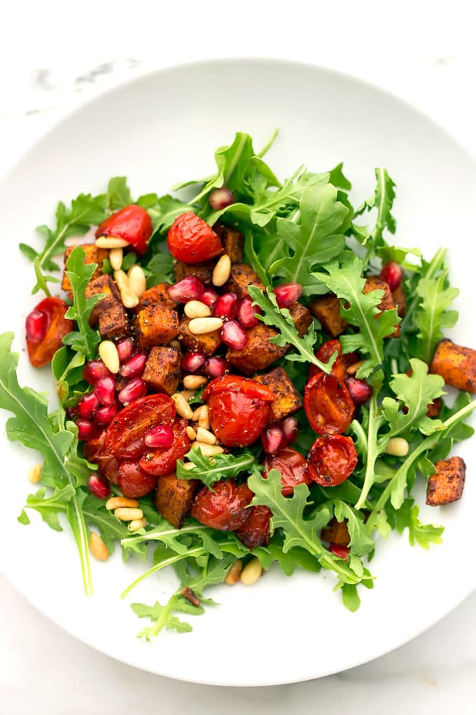 Roasted Butternut Squash, Tomato, and Arugula Salad with Cranberry-Orange Vinaigrette