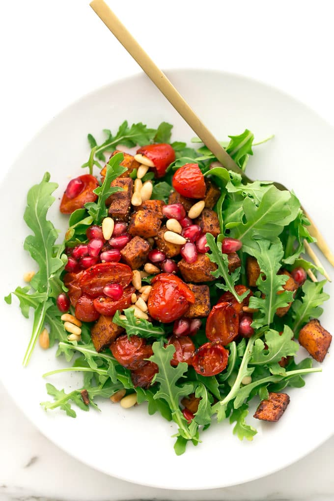 Roasted Butternut Squash, Tomato, and Arugula Salad with ...