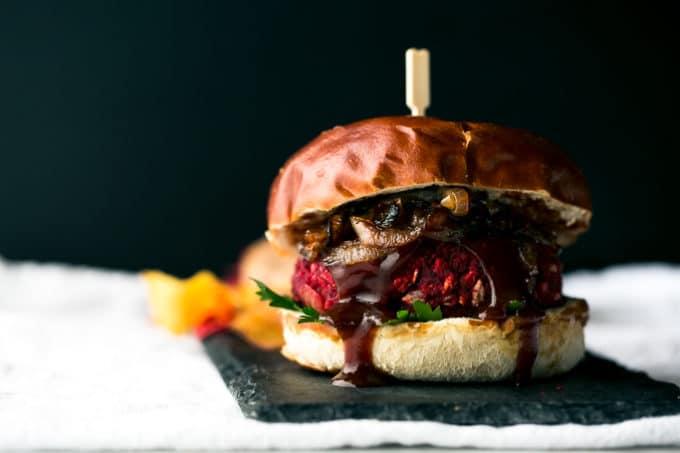 Smoky Vegan BBQ Beet Burgers