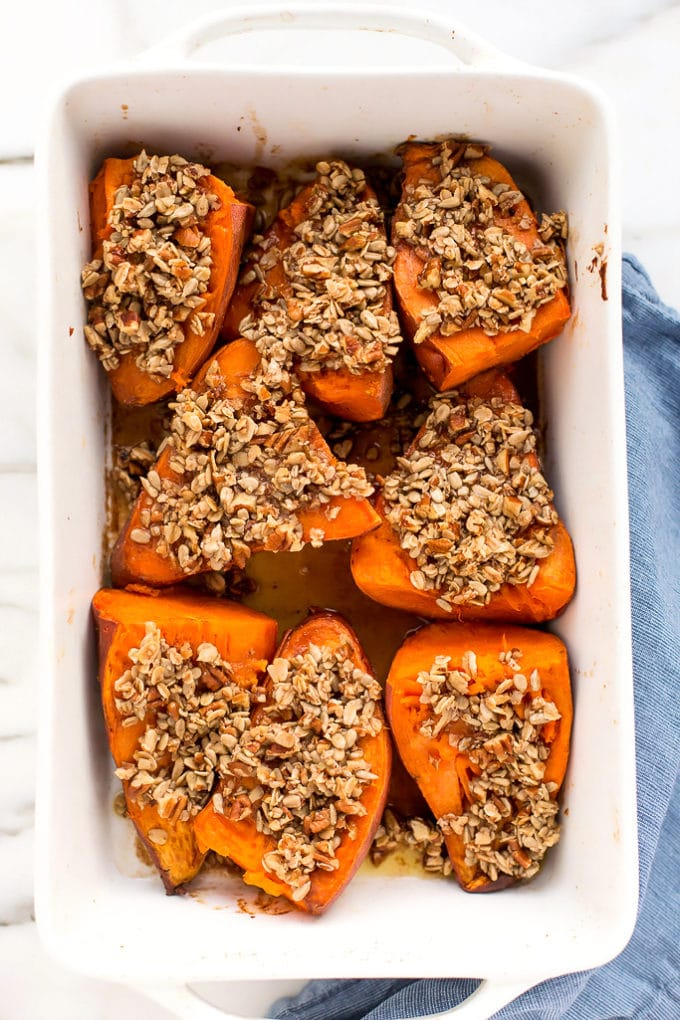 Baked Sweet Potatoes with Sunflower-Pecan Crumble | Vegan