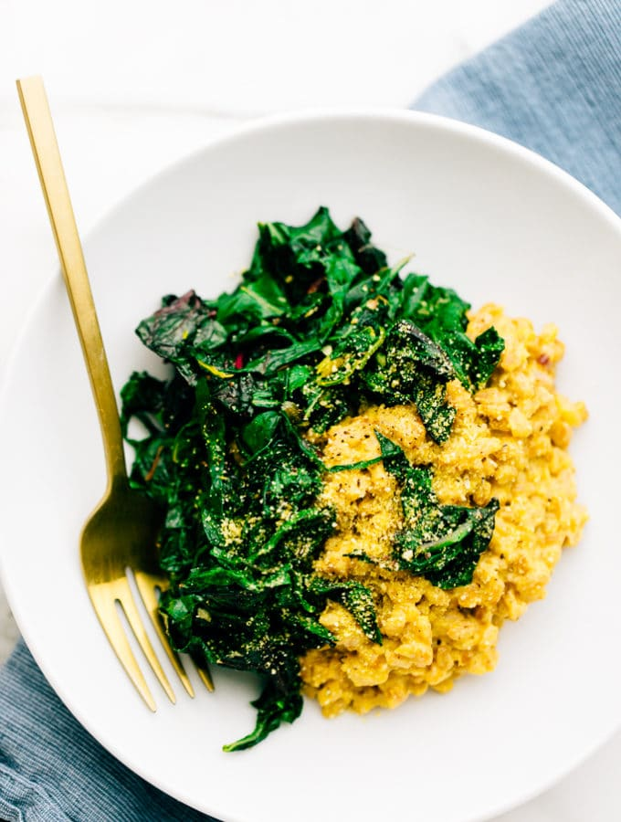 Vegan Parmesan Farro Risotto with Garlicky Greens