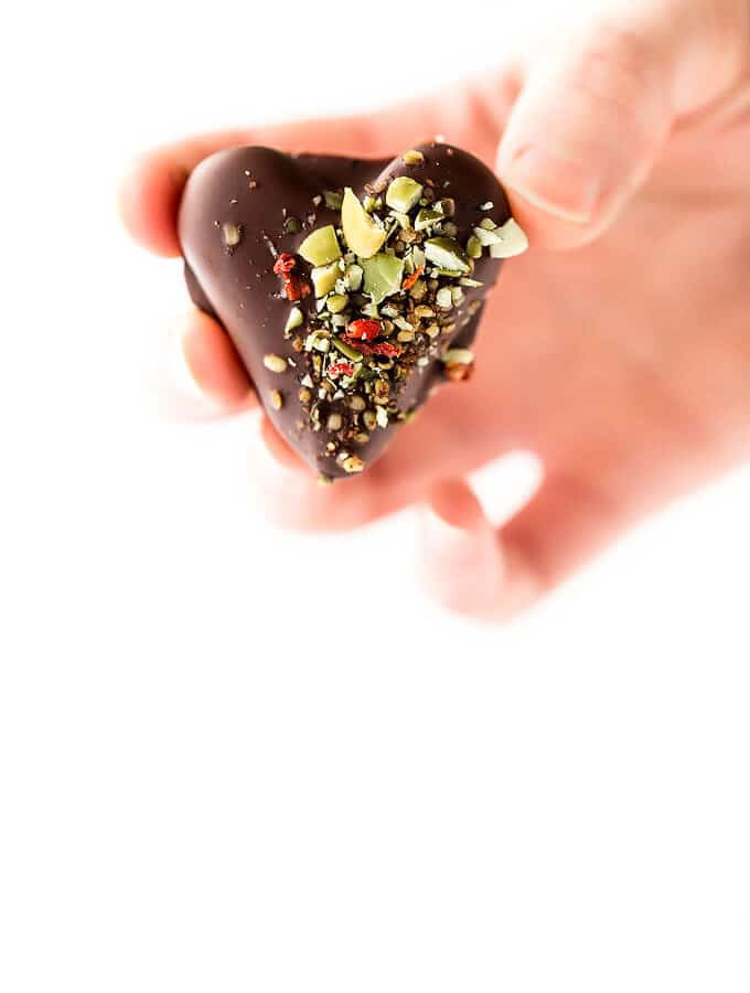 LOVE WINS Vegan Chocolate-Covered Date Caramel Hearts