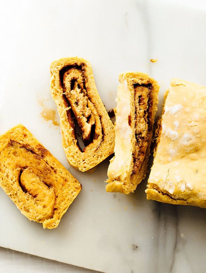 Vegan Sweet Potato Cinnamon Swirl Bread