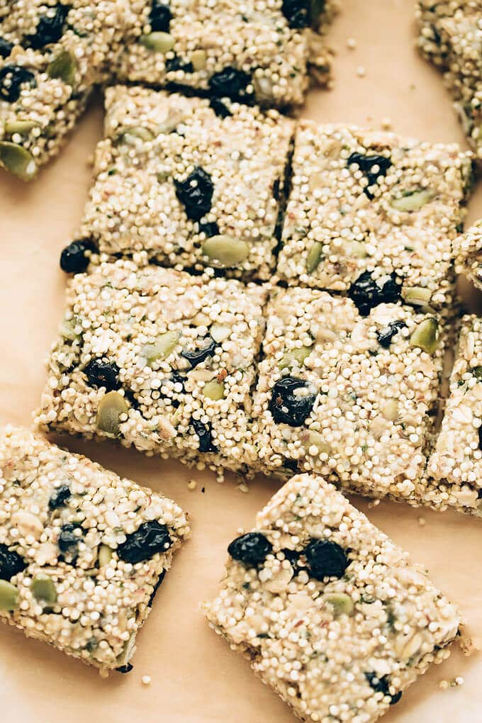 Chewy Vegan Blueberry Millet-Quinoa Snack Bars