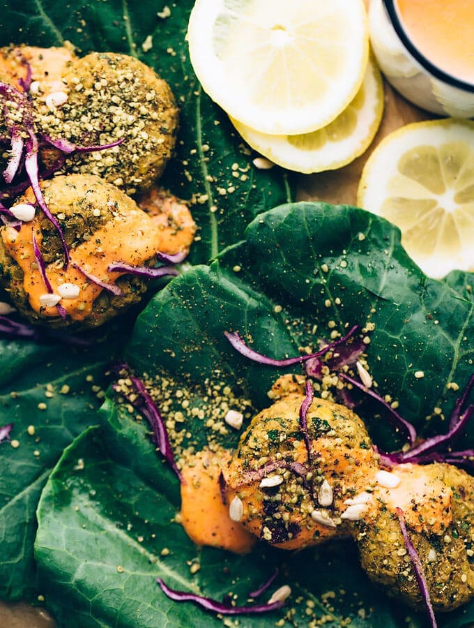 Spicy Vegan Sunflower-Lentil Falafel with Smoky Tomato Aioli