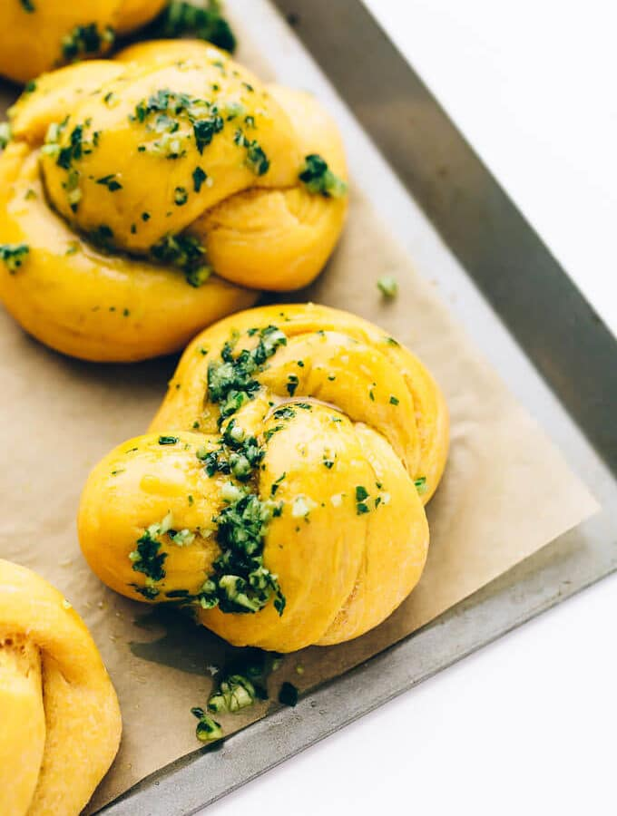 Vegan Sweet Potato Spelt Garlic Knots