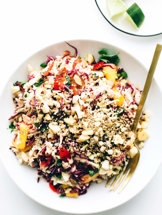 Shredded Rainbow Slaw with Sweet Tamari-Sesame Dressing