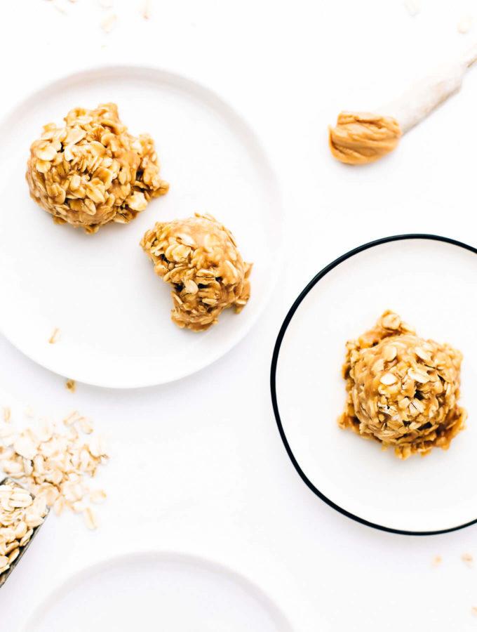 No-Bake Chewy Peanut Butter Oat Cookies | Vegan, Gluten-Free