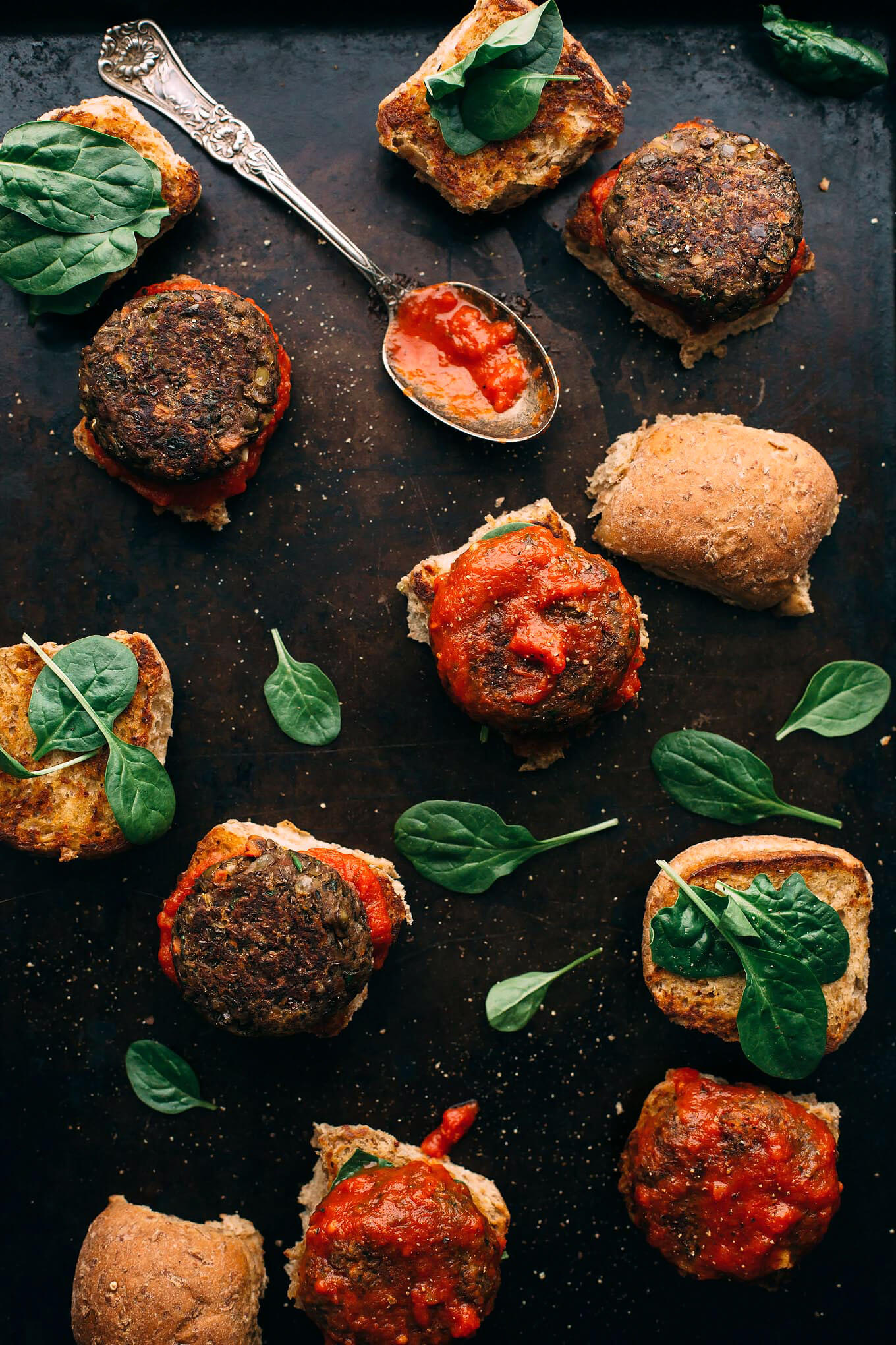 Vegan Italian-Style Lentil and Mushroom Meatball Sliders