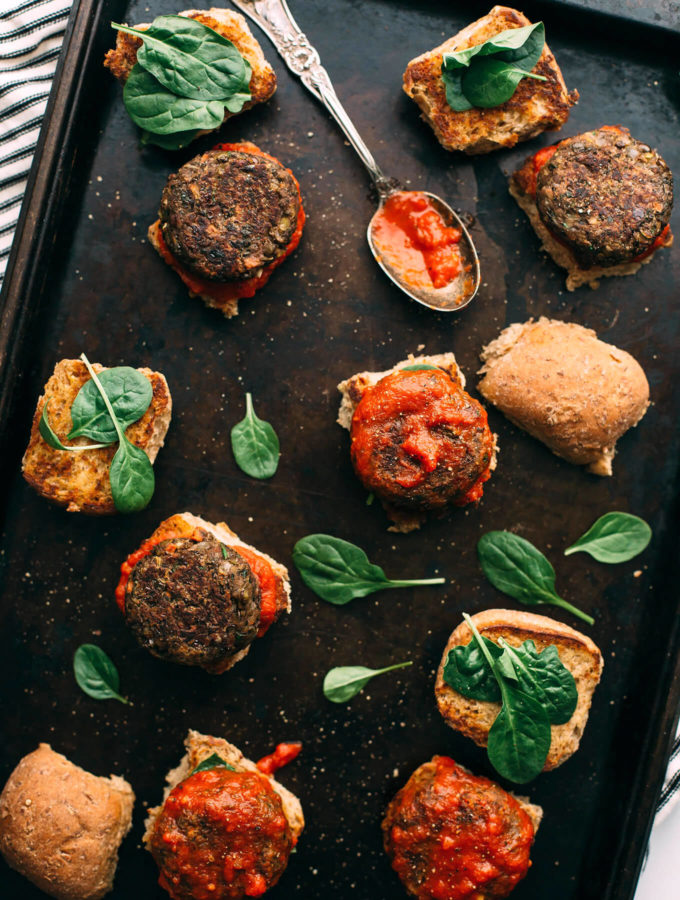 Vegan Lentil-Mushroom Meatball Sliders + A Giveaway of YumUniverse Pantry to Plate