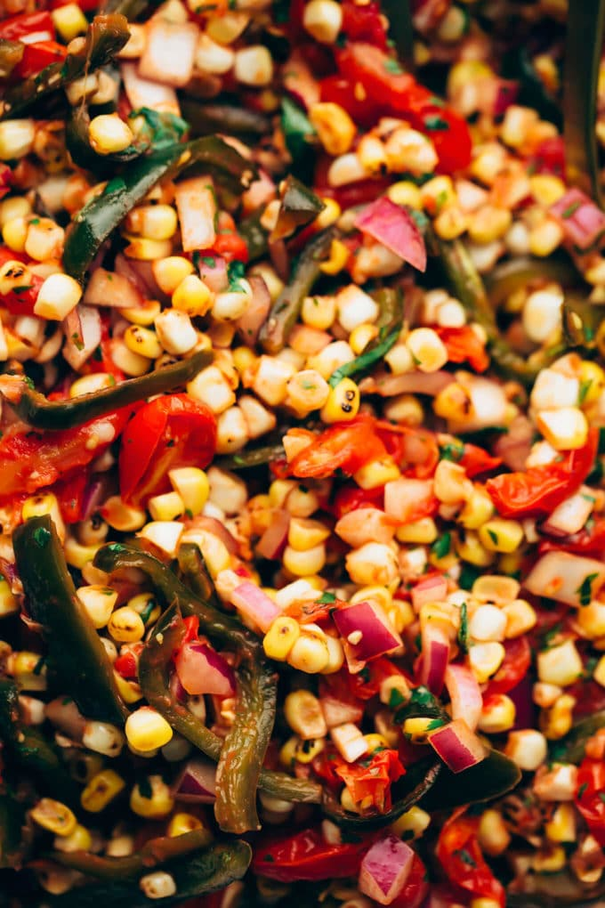 Fire-Roasted Corn, Poblano + Tomato Summer Salad