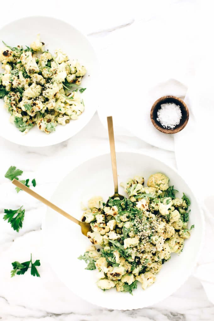 Vegan Roasted Cauliflower Green Goddess Salad