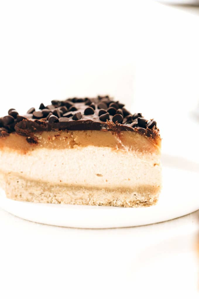 Vegan Peanut Butter Caramel Chocolate Cheesecake