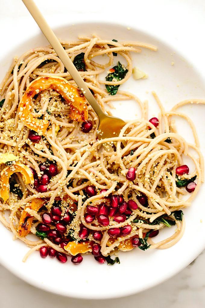 Vegan Spaghetti Aglio e Olio with Delicata Squash, Kale + Pomegranate
