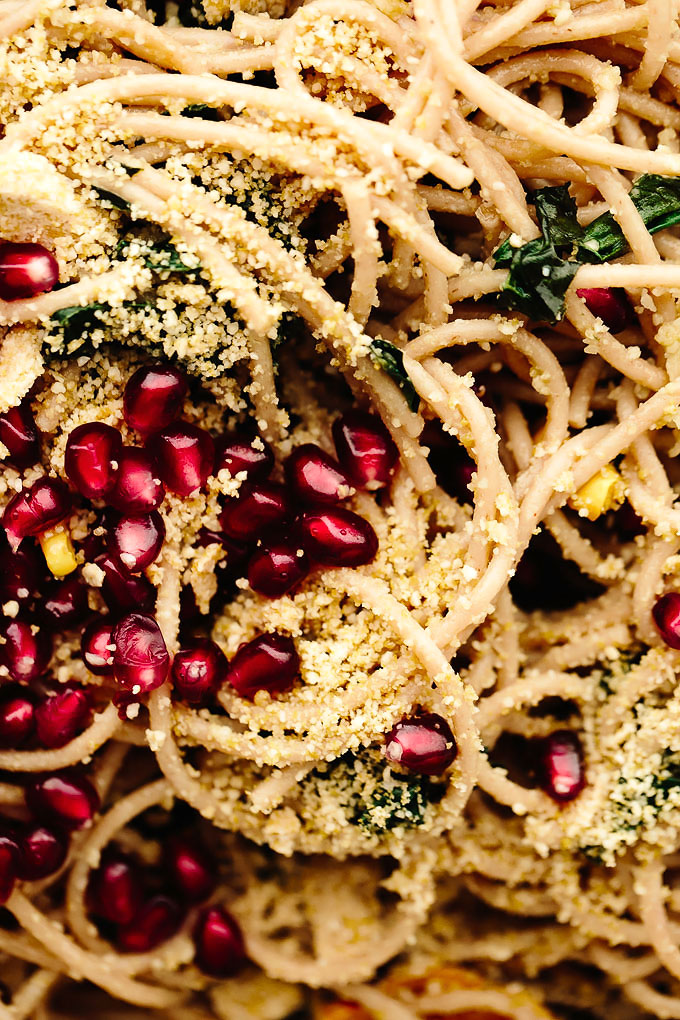 Vegan spaghetti aglio e olio with delicata squash kale pomegranate blissful basil - Deseed pomegranate less one minute video ...