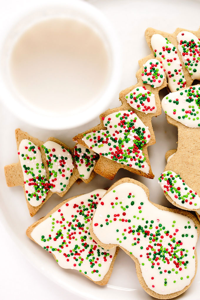 Vegan Gluten-Free Iced Holiday Shortbread Cookies
