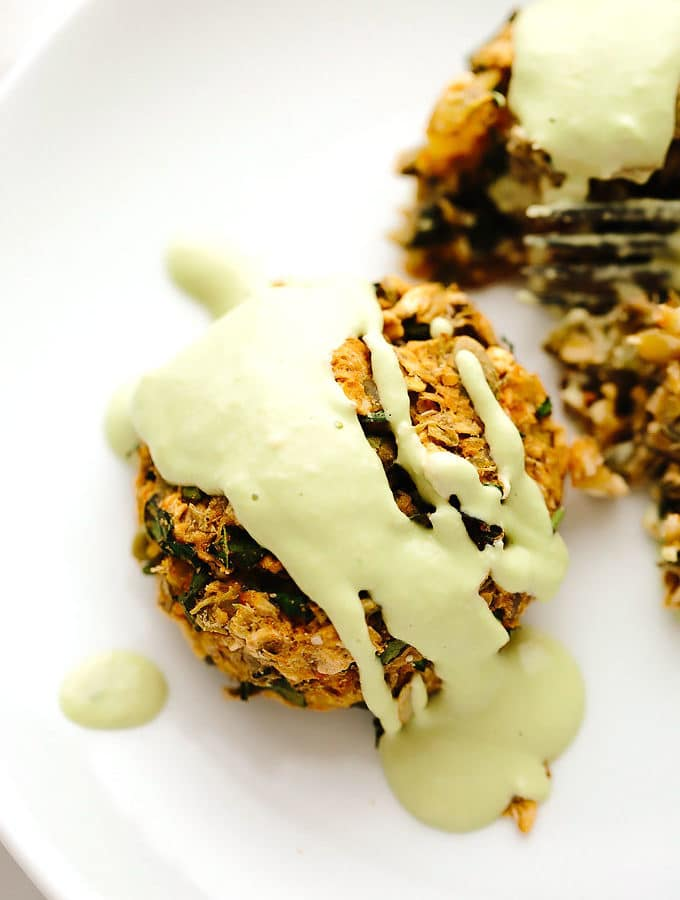 Vegan Potato Lentil Cakes with Chive Cream