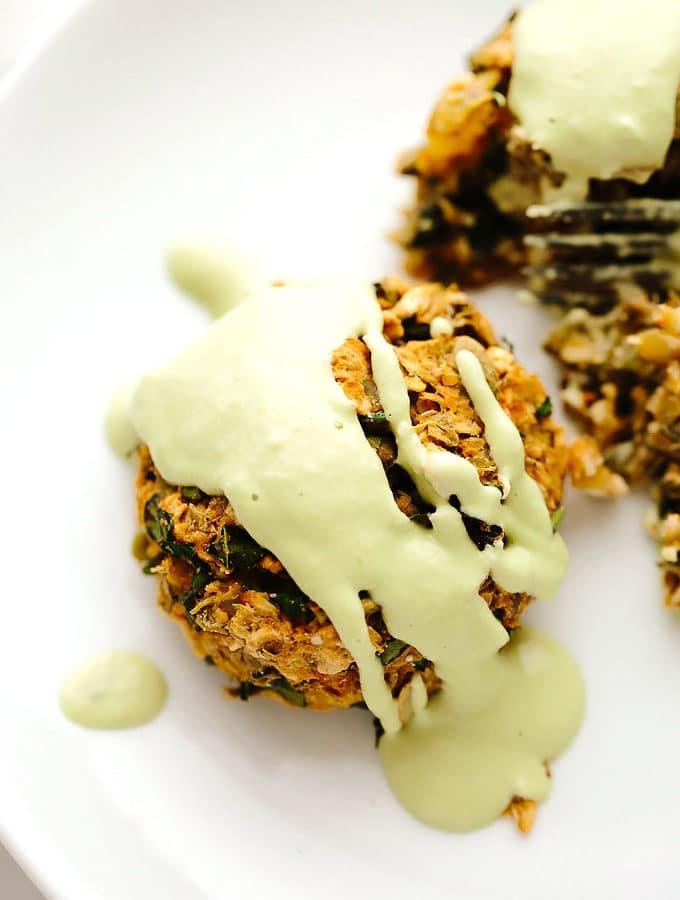Vegan Potato Lentil Cakes with Chive Cream