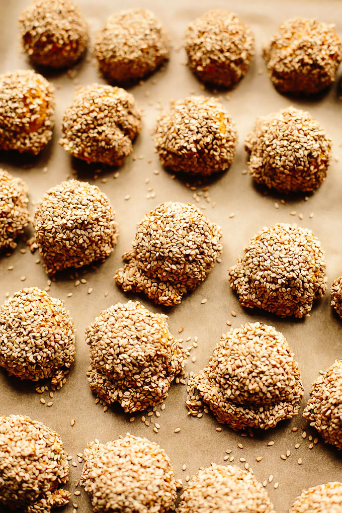 Vegan Sesame-Crusted Carrot Falafel