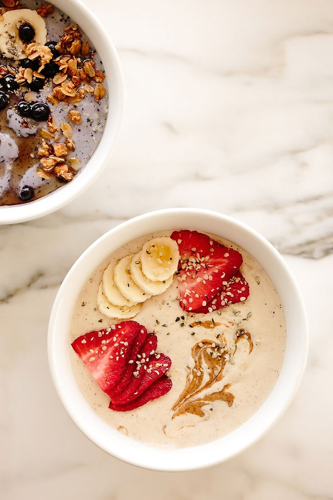 Vegan Protein Smoothie Bowl Two Ways: Banana Almond + Wild Blueberry