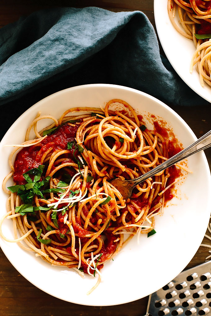 Spaghetti with Nana's Red Sauce from The Wicked Healthy Cookbook + A Giveaway