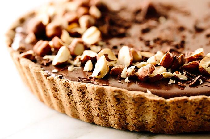 Vegan Triple Chocolate Mousse Tart with Hazelnut Crust