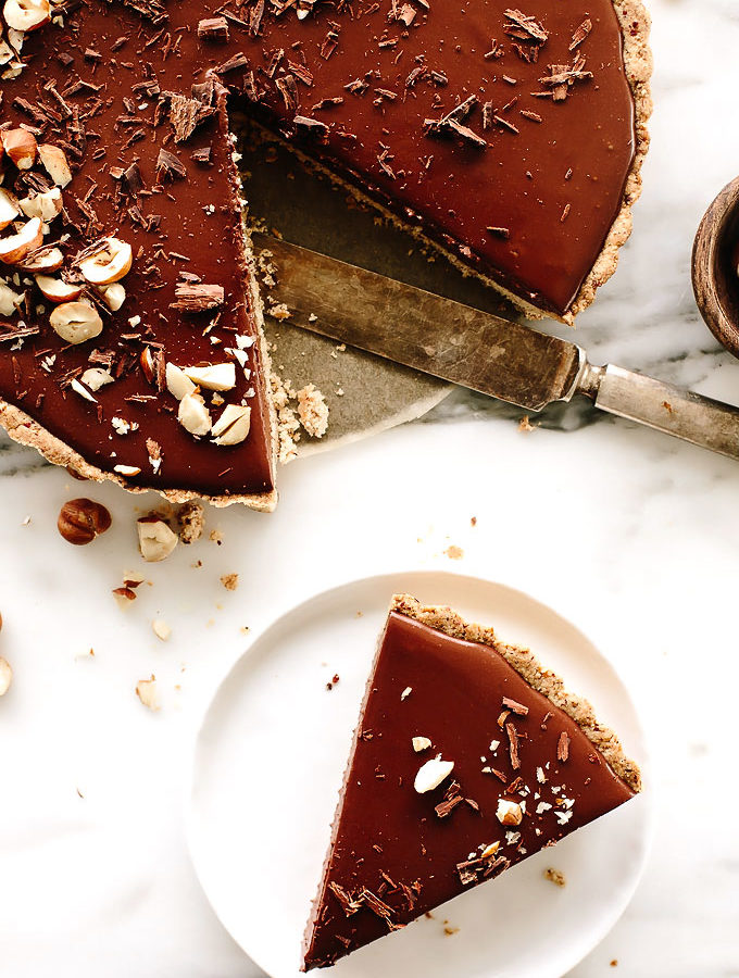 Vegan Triple Chocolate Mousse Tart with Hazelnut Crust