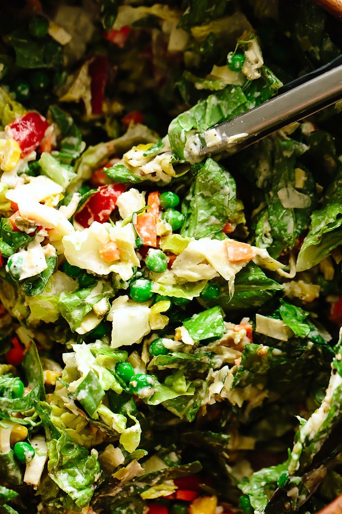 Super Veggie Vegan Chopped Salad with Cashew Ranch Dressing