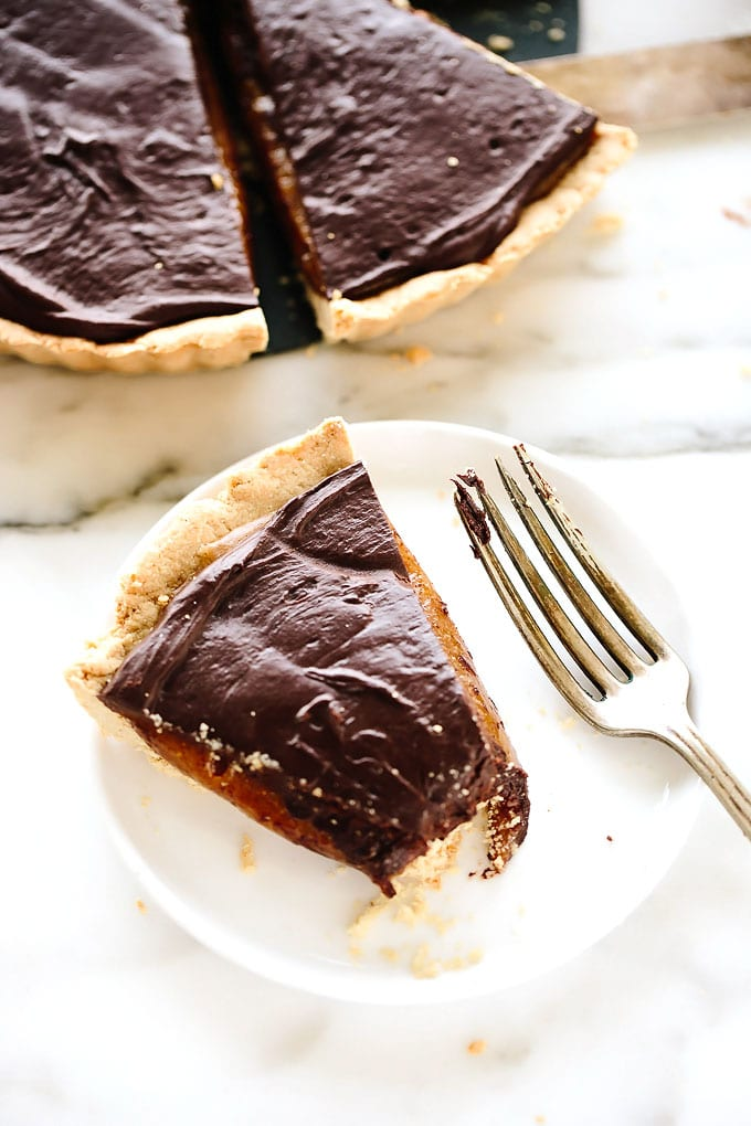 Vegan GF Caramel Chocolate Tart