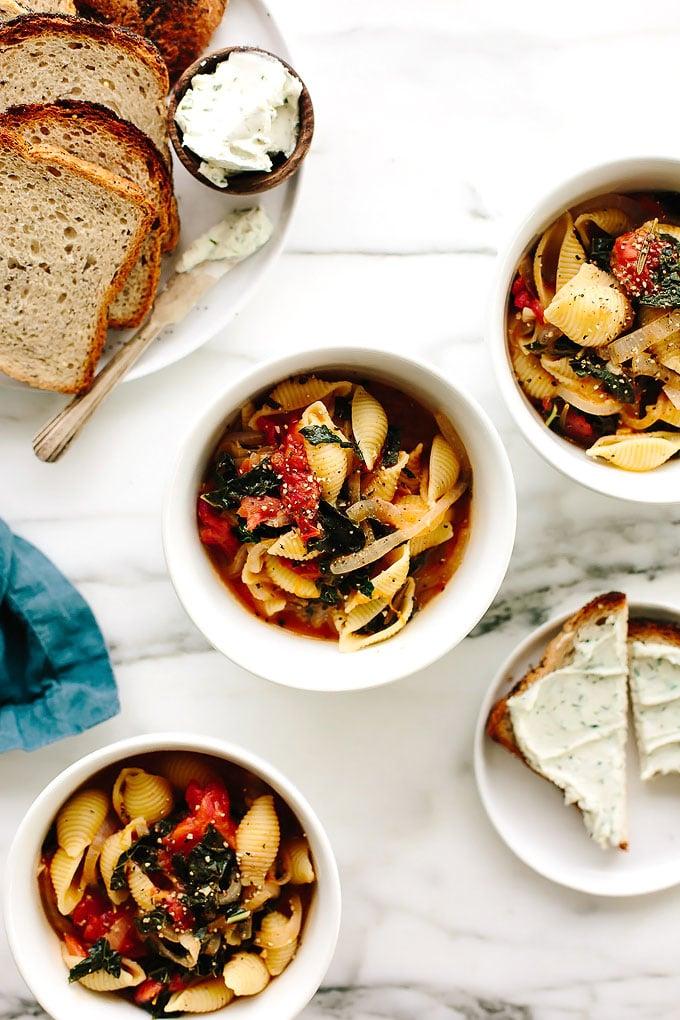Vegan Tomato Kale Noodle Soup