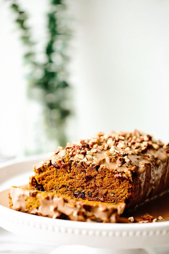Vegan Pumpkin Cranberry Pecan Bread