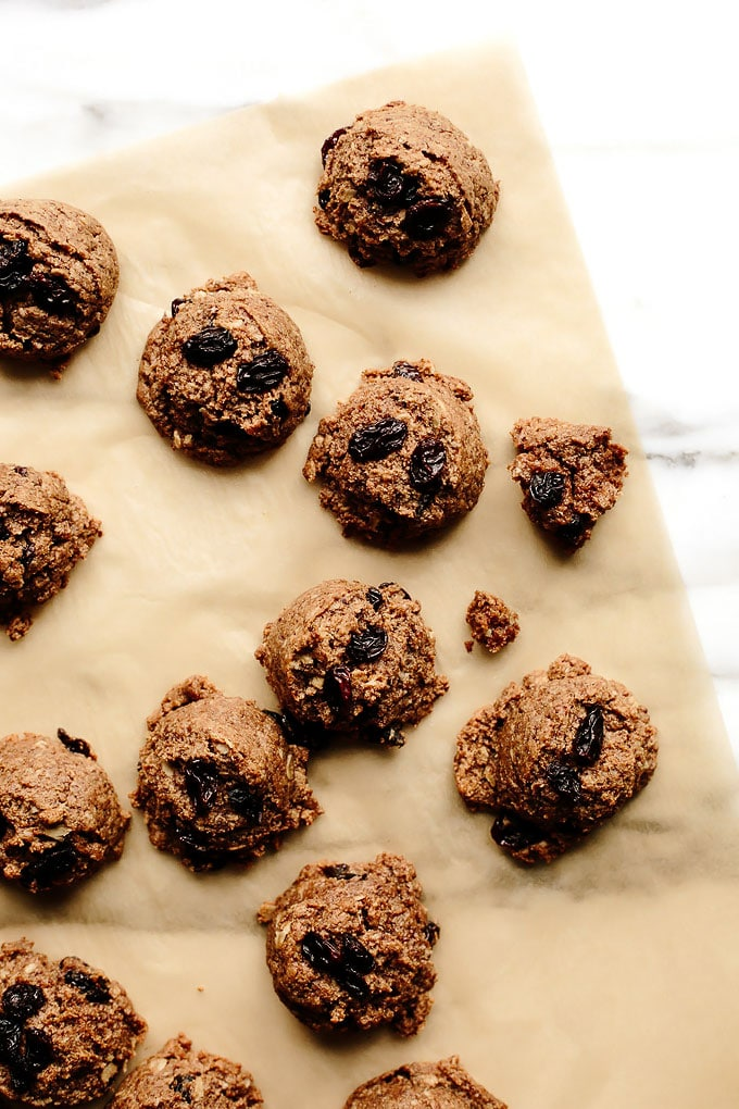 Vegan Oatmeal Raisin Almond Butter Cookies