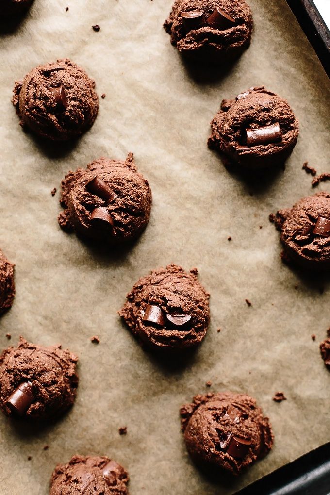 Vegan Double Chocolate Chunk Almond Butter Cookies